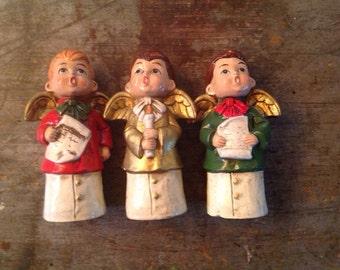 Vintage Star Hand Painted Japan Ceramic Christmas Caroler Figurines
