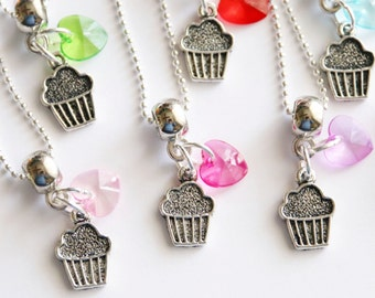 Cupcake Party Favors 10 + Necklaces Cupcake Charm with Acrylic Heart Assorted Colors, Birthday Party, Cupcake Party, Food Necklace, Children
