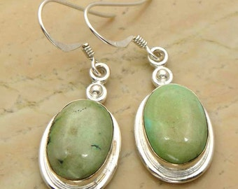 12.00ctw Genuine Turquoise & .925 Sterling Silver  Dangle Earrings (HE0001TURQ)