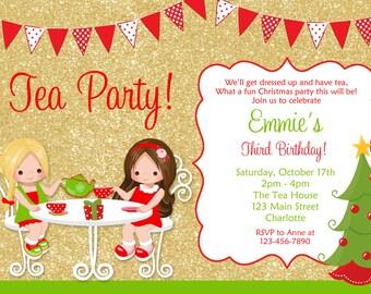 Princess Tea Party Christmas birthday party invitation  - Christmas tea party  birthday invitation --  You print or I print