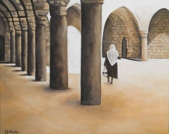 woman walking in an old city