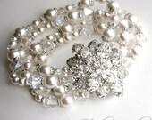 Pearl Bridal Bracelet - 4-Strand Pearl and Crystal Wedding Cuff with Rhinestone Crystal Brooch - ASHCAR