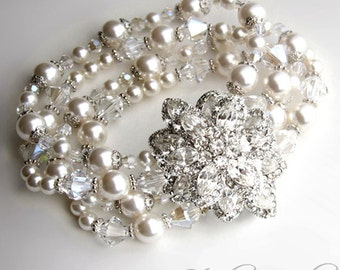 Pearl Bridal Bracelet - 4-Strand Pearl and Crystal Wedding Cuff with Rhinestone Crystal Brooch - ASHCAR