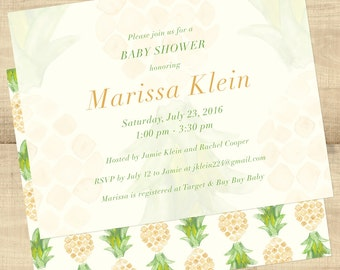 "Pineapple Tropical Baby Shower invitations, ""Pineapple Tropics""; comes with return address printing; completely customizable; SET OF 25"