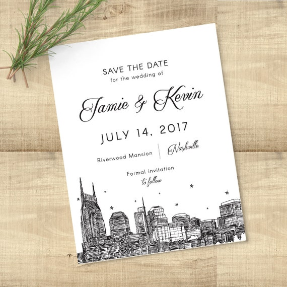 Nashville Skyline Save the Date, completely customizable; SAMPLE ONLY