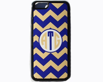 iPhone 5, 5c, 6, 6+ Personalized Cover With Monogram, iPod Case, Preppy Blue And YellowChevron Cellphone Cover