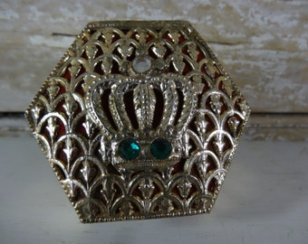Vintage Trinket Jewelry Box Gold With Crown Detailed Lovely Octagon
