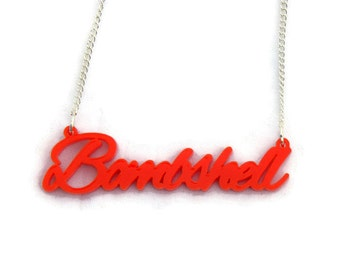 Red Bombshell Acrylic Necklace - Rockabilly, Retro, Pinup - Women's Charm Necklace - Tattoo, Script, Ladies