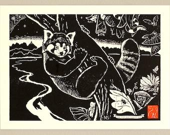 Night (Red Panda, Hoolock Gibbon) - Handmade Letterpress Print