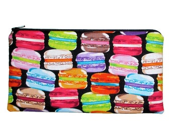 French Parisian Macarons Zipper Pouch Pencil Case Clutch Purse - Ready to Ship