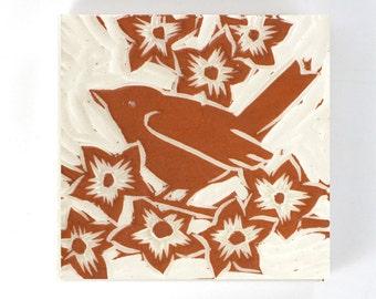 "Robin hand carved ceramic tile, white ceramic 4"" x 4"" tile"