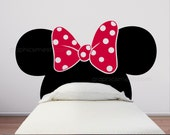 Minnie Mouse Inspired HEADBOARD Mickey ears with bow WALL DECALS by GraphicsMesh (Queen size bed)