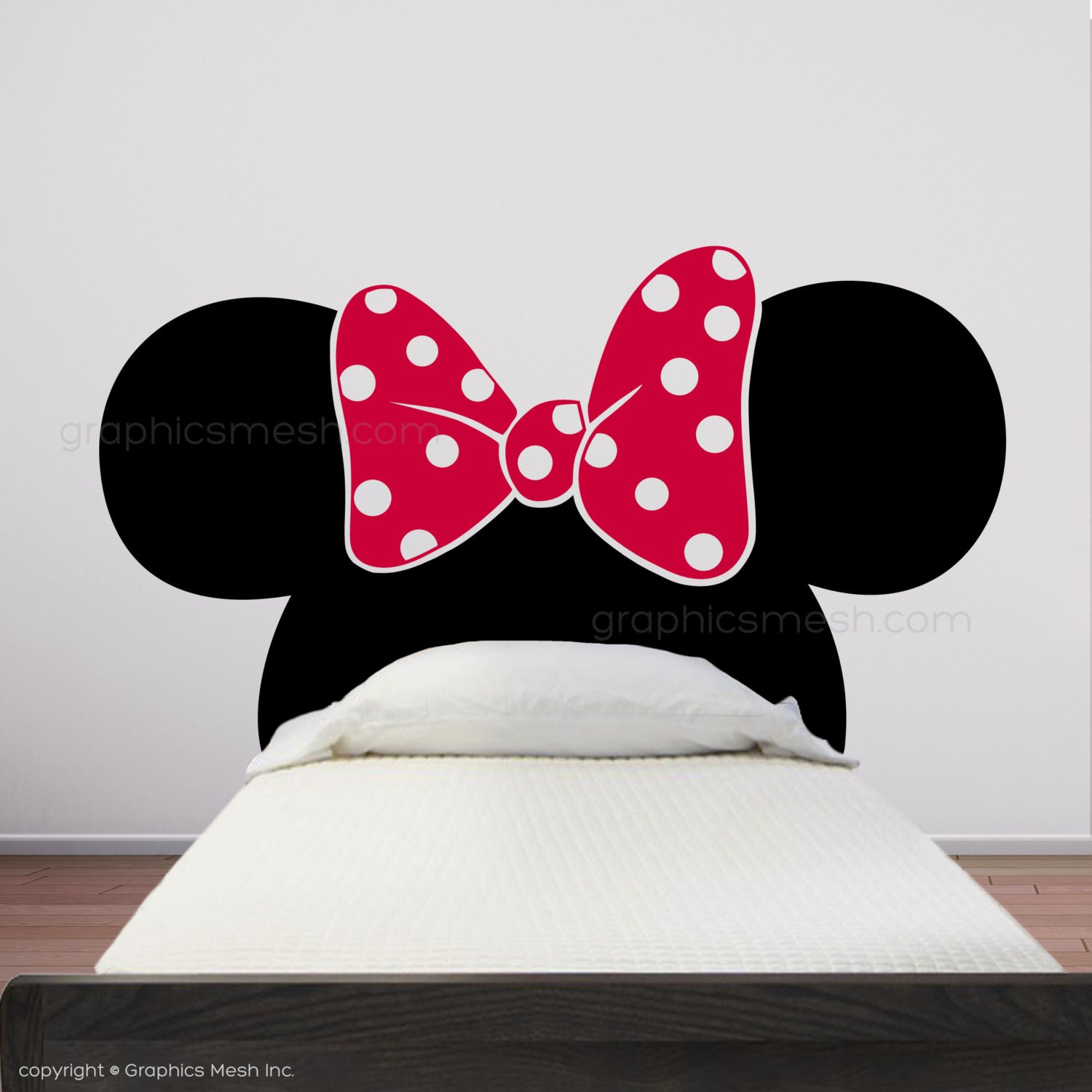 Minnie Mouse Inspired Headboard Mickey Ears With Bow Wall