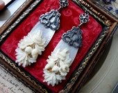 Antique Dieppe & Mother of Pearl Earrings, Fertility, by RusticGypsyCreations