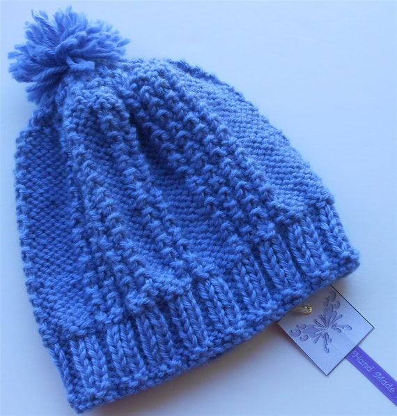 Blue Baby Pom-Pom Hat Hand Knit Slouchy Babies Hats ...