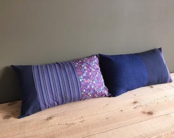 purple blue tones striped and floral lumbar pillow - set of 2x - 12x20 lumbar pillow - bedroom decor - housewarming gift - wedding gift