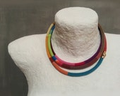 Colorful Layered Necklace, Long Wrap Striped Necklace, Crochet Rope Choker African Style, Skinny Scarf