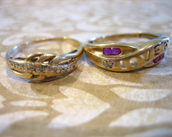 Two Vintage 10K Gold Band Stackable Ring Diamond and Ruby