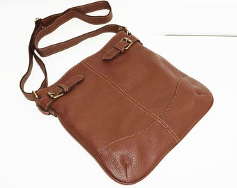 Soft Brown Genuine Leather Messenger Bag Vidal // Leather Cross-body Bag