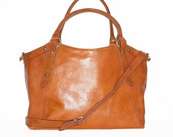 Orange Leather Bag Handbag Tote // Shoulder Cross Body Bag Elsa