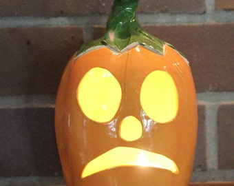 Ceramic Jack-o'-lantern Luminary in Orange, Yellow and Green for Halloween