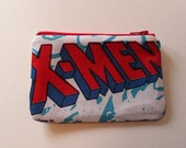 Superhero Zipper Pouch - Small Zip Pouch Coin Purse Wallet - Upcycled made from vintage fabric