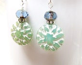 Powder Blue and Spring Green Floral Earrings, Green Beaded Earrings, Beaded Dangle Earrings