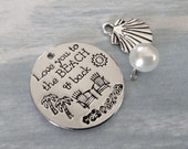 """1 - """"Love you to the Beach and back"""" Pendant or charm  set, Rhodium plate, beach pendant, vacation necklace"""