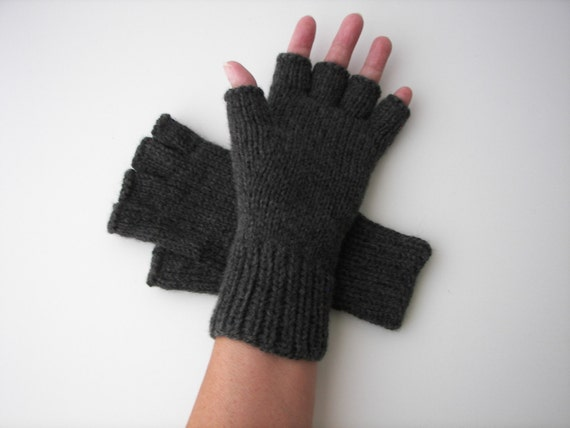 Charcoal Gray Hand Knit Half Finger Gloves in 100% Soft Peruvian WOOL