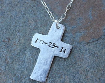 Handmade fine silver rustic cross charm necklace- with optional date or name- personalized custom memory charm- free shipping USA