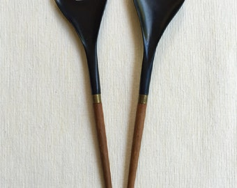 Danish mid-century modern salad servers / Teak and black melamine
