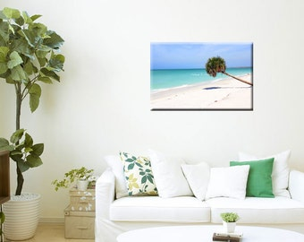 Metal Wall Art-Coastal Photography-Tropical Decor-Beach Art-Teal-Ocean-Palm Tree-Fine Art Horizontal Wall Art-20x30-Turquoise-Blue-White-Tan