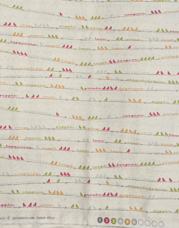 Noteworthy Sweetwater birds on a wire cream moda fabric FQ or more