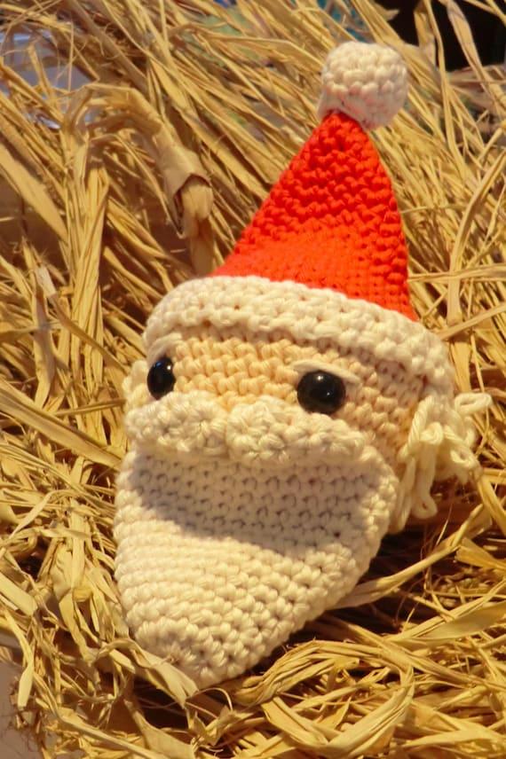 Father Christmas crochet bauble. festive amigurumi pdf pattern