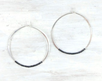 Hammered Silver Hoop Earring with Oxidized Sterling Silver Beads, Contrast Hoop