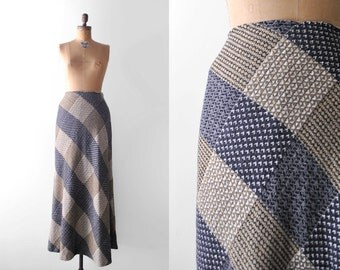 70's plaid skirt. maxi. 1970's small skirt. blue, tan, white. a-line. 70 wool skirt. s.