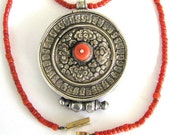 "Antique Tibetan Gau, High Grade Silver, Sherpa Coral Medallion, 68cm (27"") c. Mid 1800's Coral Beads Necklace, 14k Gold Clasp, 56.5 Grams"