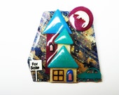 House For Sale Brooch - Lucinda House Pin - Man in the Moon - Crescent Moon - Green & Burgandy -  Designs By Lucinda Yates - 1997