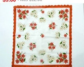Vintage Christmas Handkerchief - Poinsettia Flowers - 1950's Scalloped Edge Hanky