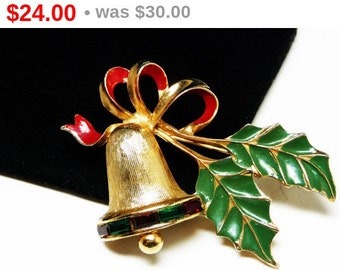 Sarah Coventry Christmas Bell Brooch - Holly and Ribbon Bough Pin  - Vintage Holiday Jewelry