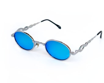 oval sunglasses Retro Goth Vampire Steampunk sunglasses blue mirror lens unusual snake design on temples  NOS