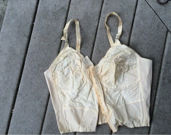 60's Bra NOS NWT Bustier Tan Bustier with Embroidery / 60s Bustier G Fox & Co. Tag Wynton Bra 42 C