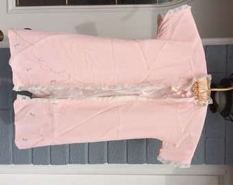 Pink Baby Robe Long Baby Layering Piece Shari Steckler Label Hand Embroidered Too Sweet  Pale Pink Fancy Baby Piece with Embroidery