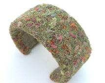 Embroidered bangle bracelet, fibre art you wear, contemporary fashion jewellery by textile artist Tors Duce, Summer garden flowers, UK, OOAK