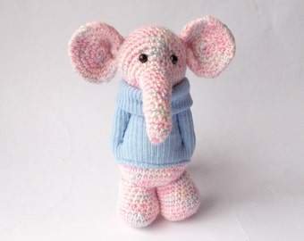 crocheted elephant, Amigurumi elephant, pink elephant, crocheted toy, toy elephant, plush elephant, dressed elephant, elephant doll