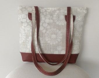 Hand Bag - Tan Leather and Linen