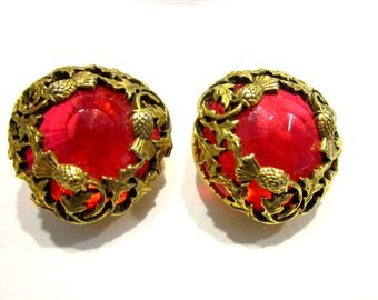 Vintage Florenza Red Thistle Earrings Clip Designer Signed Large Gold Earrings Faceted Red Lucite Large Round Red Earrings
