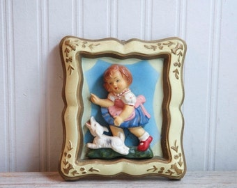 1940s Vintage Chalkware Girl with Dog in Gold Frame, Handpainted Child with Puppy, Gold Framed Plaque, Vintage Wall Art Home Decor, Kitsch