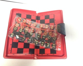 1950s Magnetic Chess Set // Travel Checkers Set // New never used // Chess