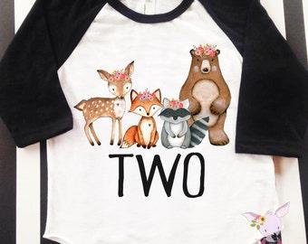 Girls Birthday Woodland Shirt Deer birthday party Woodland theme Birthday any age and name Custom Birthday Raglan Fox Bear Birthday Raglan